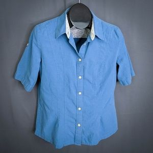 Woolrich Top Shirt Size Large Blue Womens Roll Tab